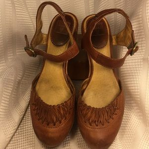 FRYE leather/wooden ankle strap wedge sandals